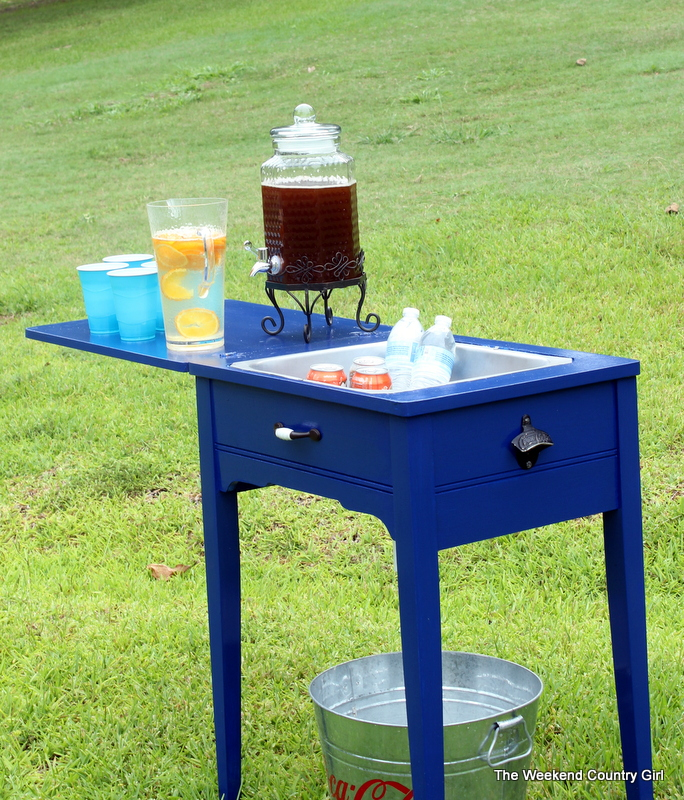 Remodelaholic Brilliant DIY Cooler Tables For The Patio With Amazing Sewing Machine Bar Cart