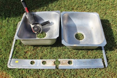 use grinder to make double sink into single sink, The Weekend Country Girl featured on Remodelaholic
