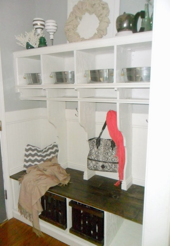 DIY Entryway Mudroom with Cubbies, Home Heart and Hands featured on Remodelaholic.com