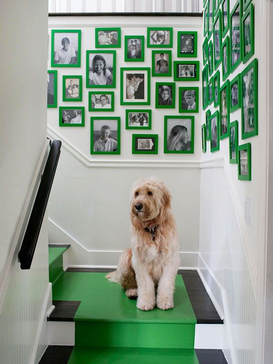 green frames and stair runner