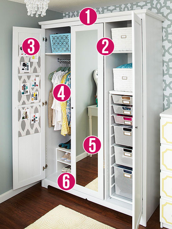 Get This Look - 6 Tips for an Organized Armoire via Remodelaholic