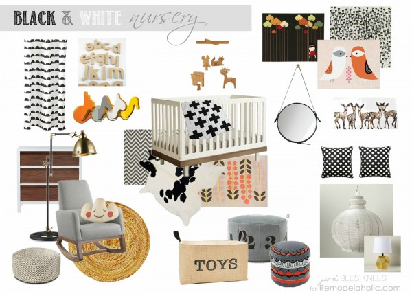 Designing a Black and White Nursery | Just The Bees Knees for #Remodelaholic