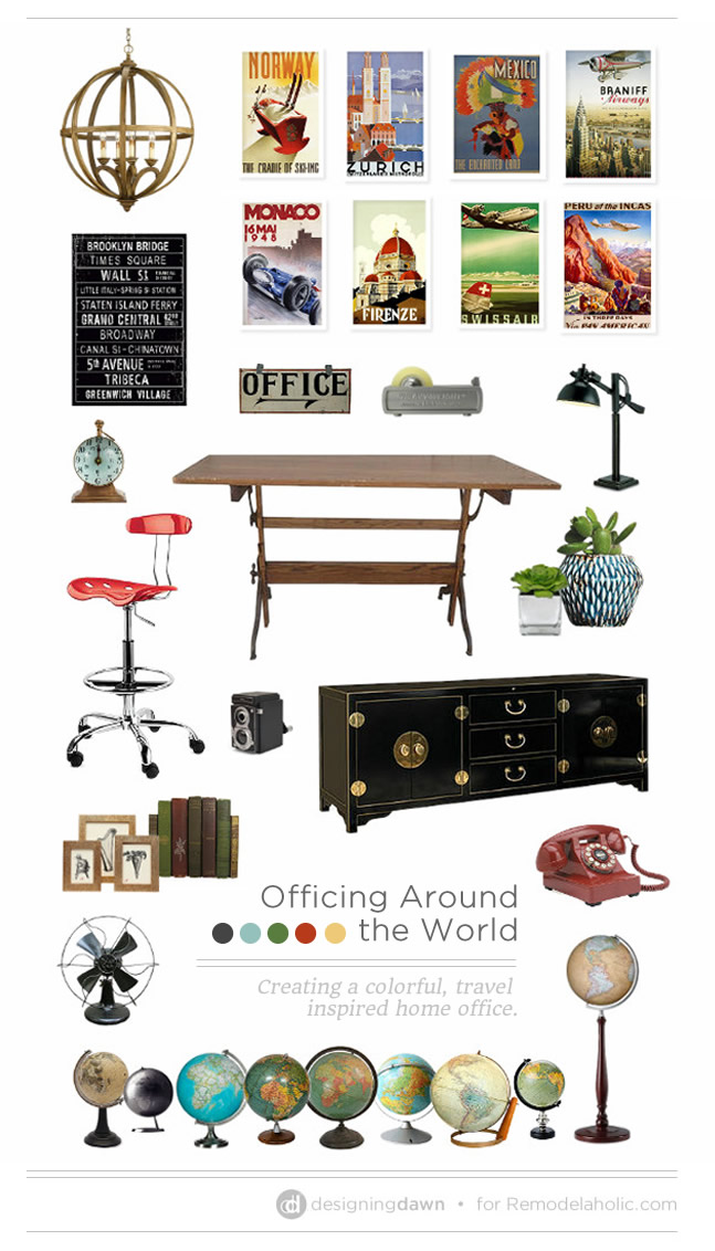 Officing Around the World | Create a Colorful, Travel-Inspired Home Office #remodelaholic