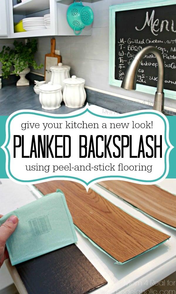 Plank Backsplash Using L And Stick Flooring Mom 4 Real For Remodelaholic