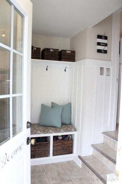 back entryway mudroom with bench, Fingerprints on the Fridge
