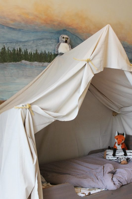 build a kids bed canopy that looks like an indoor camping tent, The Ragged Wren on Remodelaholic