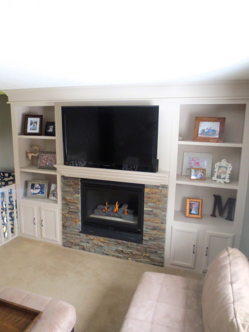 Fireplace Makeover with Built In Shelves Construction
