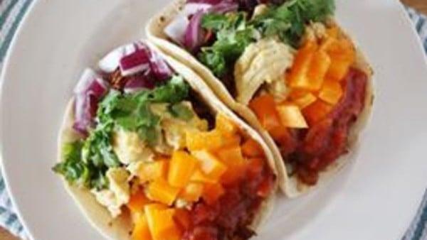 Chorizo Egg Rainbow Breakfast Tacos From Tablespoon On Remodelaholic