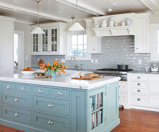 cornflower blue kitchen island