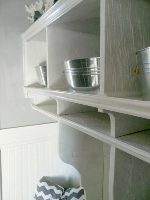 double shelves in entryway, Home Heart and Hands featured on Remodelaholic