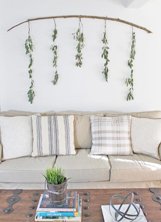 Easy DIY Wall Decor Ideas Eucalyptus Branch Wall Decor The Honeycomb Home