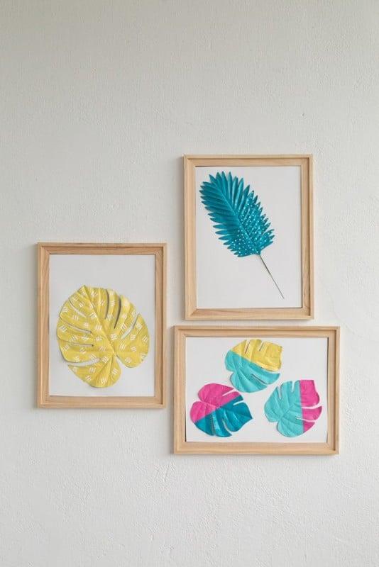 Easy DIY Wall Decor Ideas Faux Botanical Leaf Art Alice And Lois