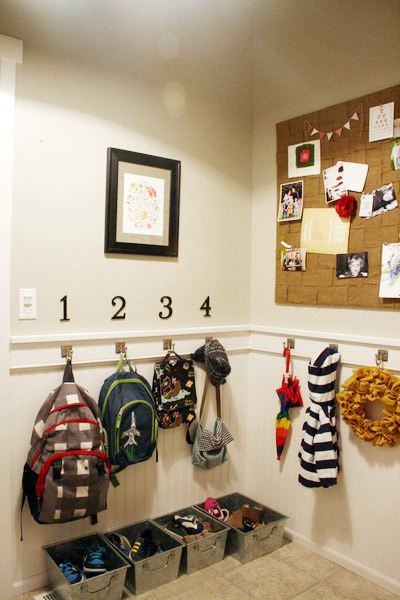 entryway mudroom hook wall, Jones Design Company via Remodelaholic