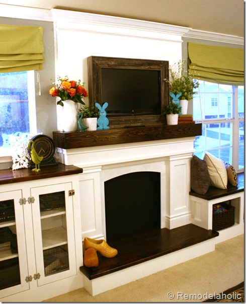 Stone Fireplace With Built In Cabinets: Fireplace Makeover With Built-In Shelves