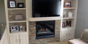 feature fireplace makeover with built-in shelving, construction2style on Remodelaholic