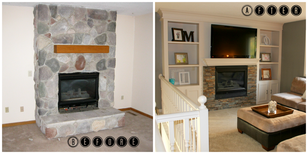 Remodelaholic fireplace makeover with built in shelves How to do a home makeover