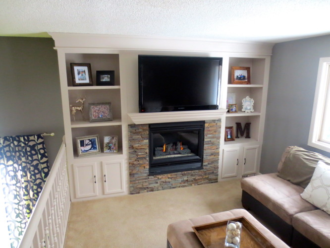 fireplace makeover with built-in shelving, construction2style on  Remodelaholic - Remodelaholic Fireplace Makeover With Built-In Shelves