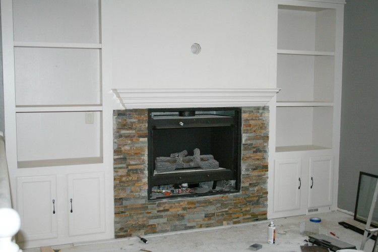 Stone On Fireplace remodelaholic | fireplace makeover with built-in shelves