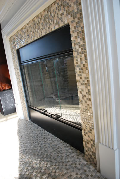 Remodelaholic fireplace makeover with built in shelves - Tile over brick fireplace ...