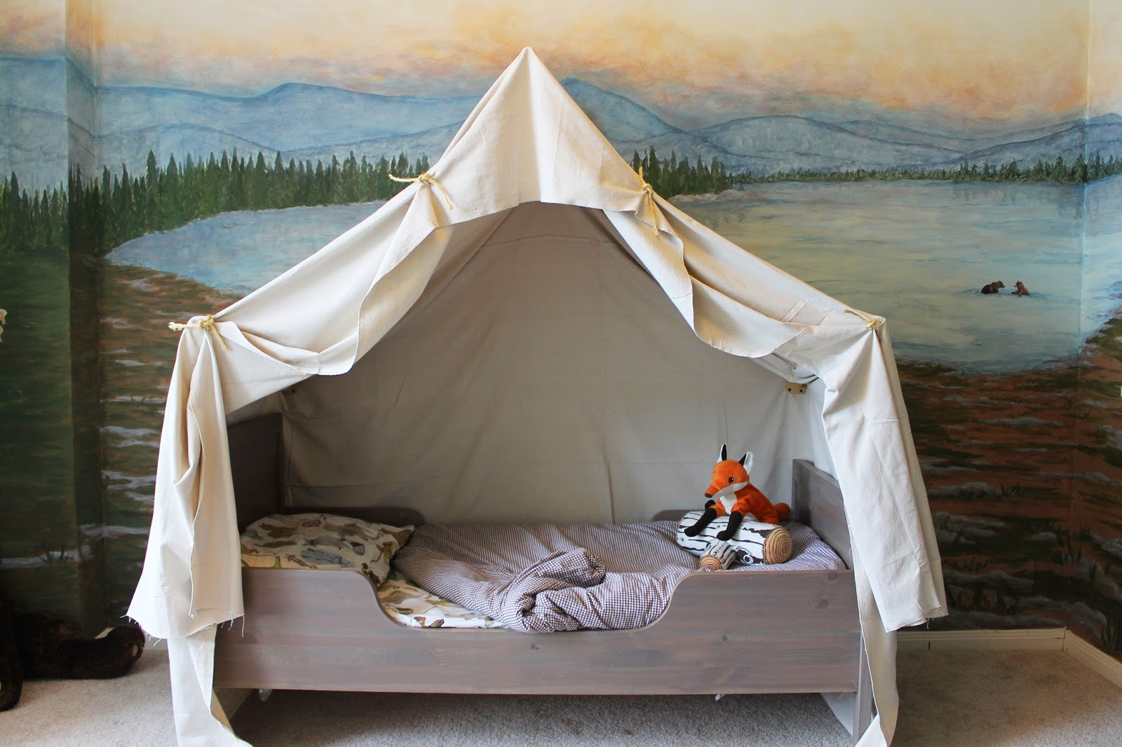 Kids Bedroom Tent remodelaholic | camping tent bed in a kid's woodland bedroom
