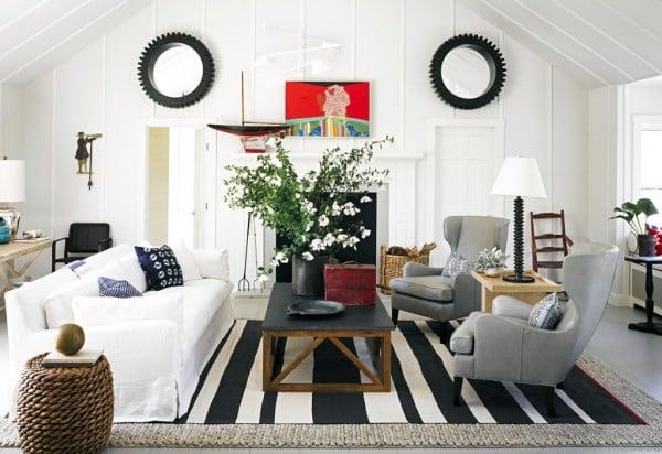 Modern Coastal Living Room at Remodelaholic.com