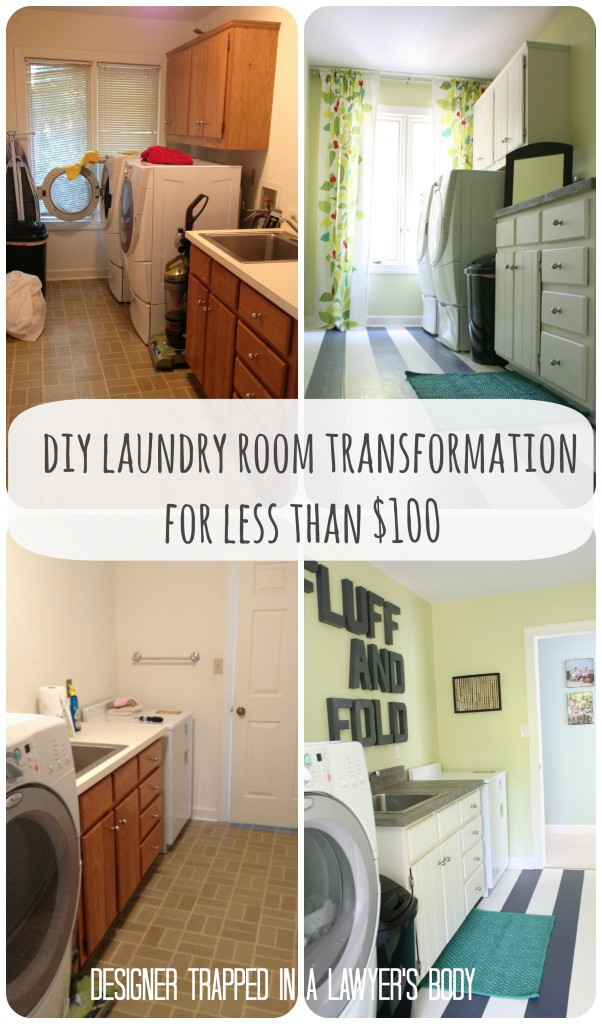 Popular High Style Low Cost Laundry Room Makeover painted cabinets painted linoleum floor