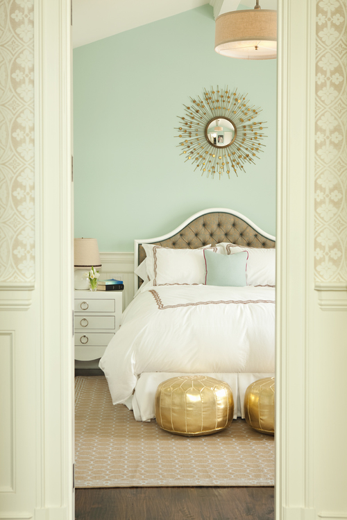 mint and gold bedroom