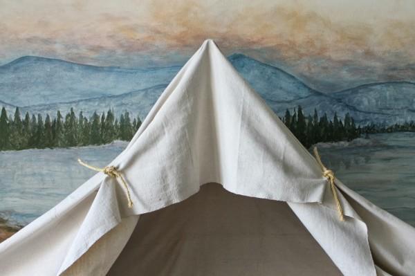 rope ties to hold canvas on indoor camping tent bed canopy, The Ragged Wren on Remodelaholic