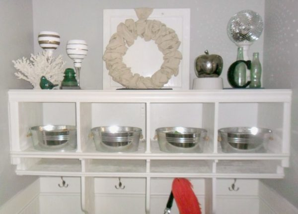 upper cubbies in mudroom, Home Heart and Hands featured on Remodelaholic