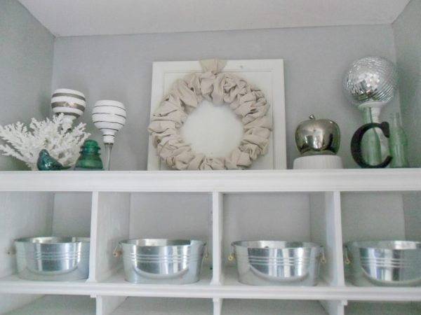 upper shelves of mudroom cubbies, Home Heart and Hands featured on Remodelaholic