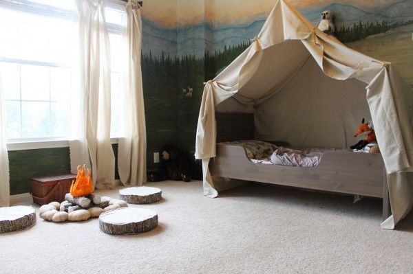 woodland themed kids room with camping tent bed canopy, The Ragged Wren on Remodelaholic