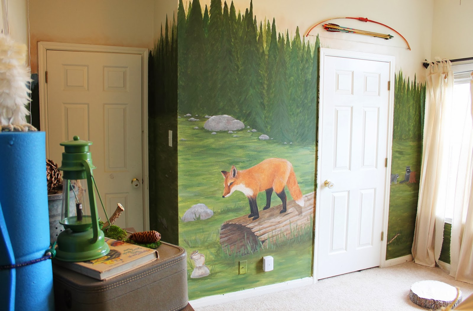 Woodland Themed Mural In Kids Room The Ragged Wren On Remodelaholic