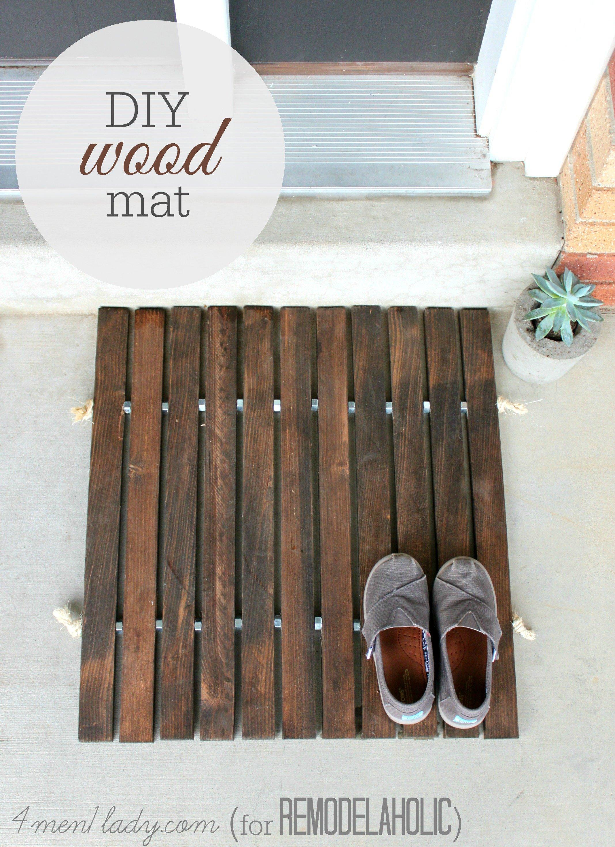 DIY Wood Mat by (4men1lady.com for @Remodelaholic)