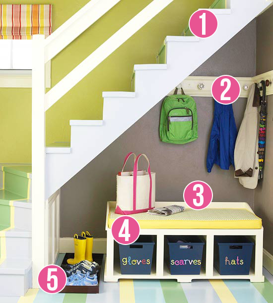 5 Tips for a Small Space Mudroom Under the Stairs via Remodelaholic