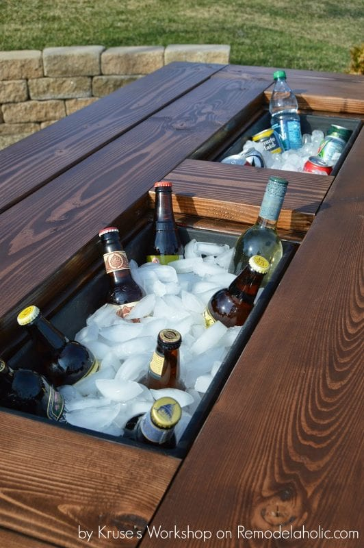 Build a patio table with built-in drink coolers from planter boxes -  Kruse's Workshop - Remodelaholic Build A Patio Table With Built-In Ice Boxes