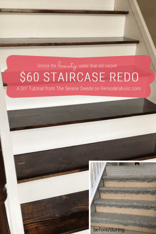 Carpet To Wood Stairs, DIY Stair Remodel, By The Serene Swede Featured On @