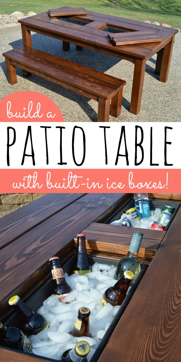 Diy patio table with built in drink coolers kruse 39 s for Build patio table with cooler