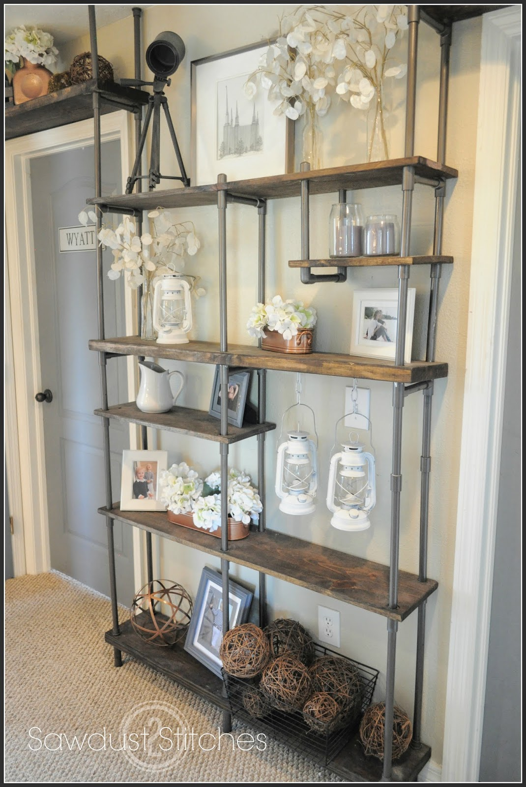 Diy faux industrial shelves uncookie cutter for Diy industrial bookshelf