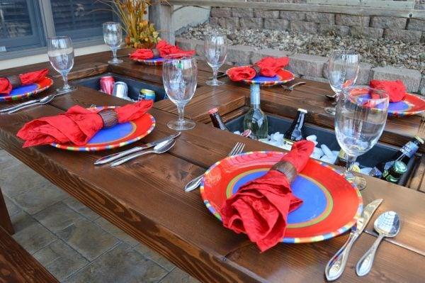 DIY patio table with built-in drink coolers, Kruse's Workshop on Remodelaholic