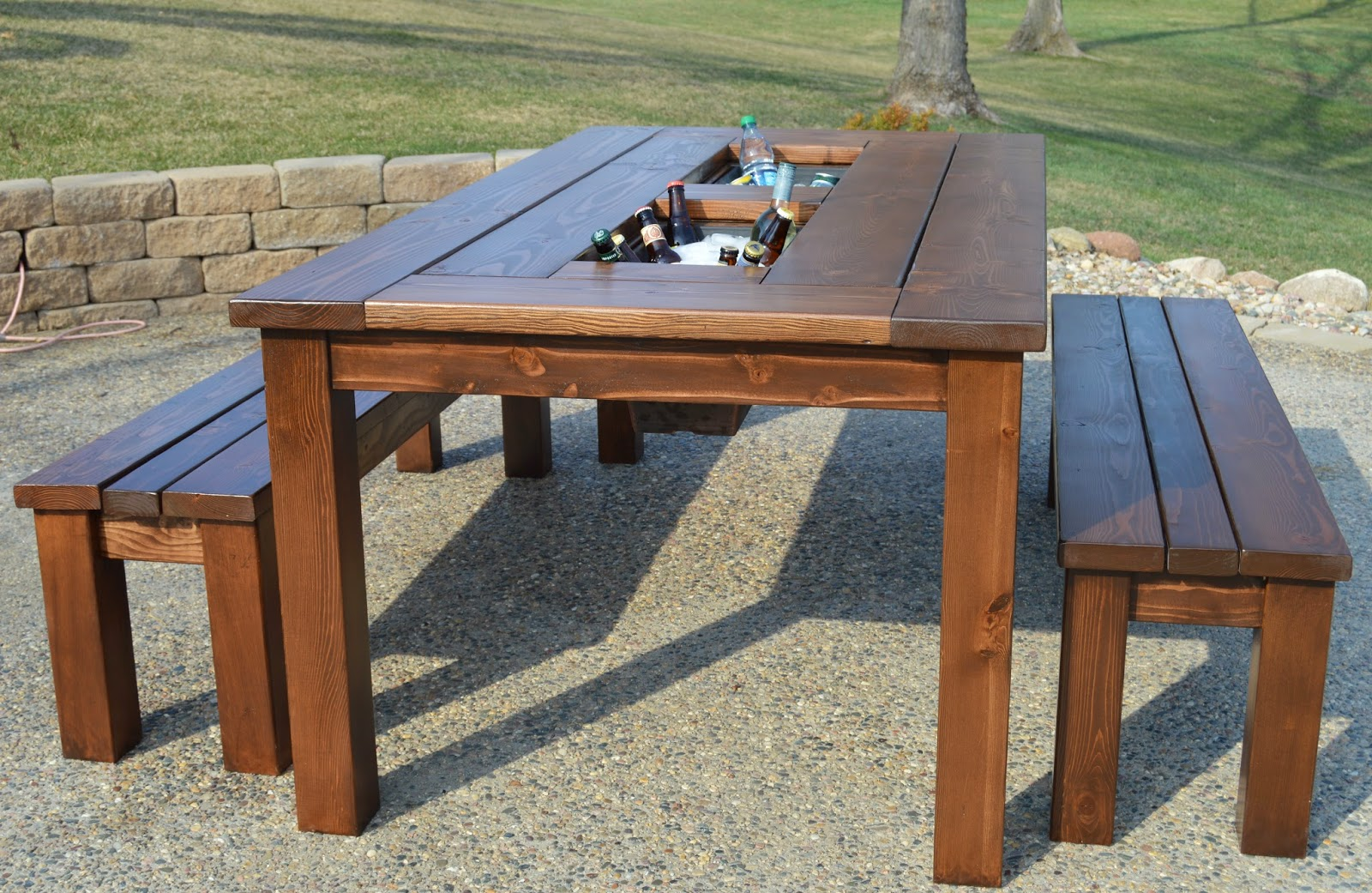 Remodelaholic Build A Patio Cooler Table With Built In Ice Boxes