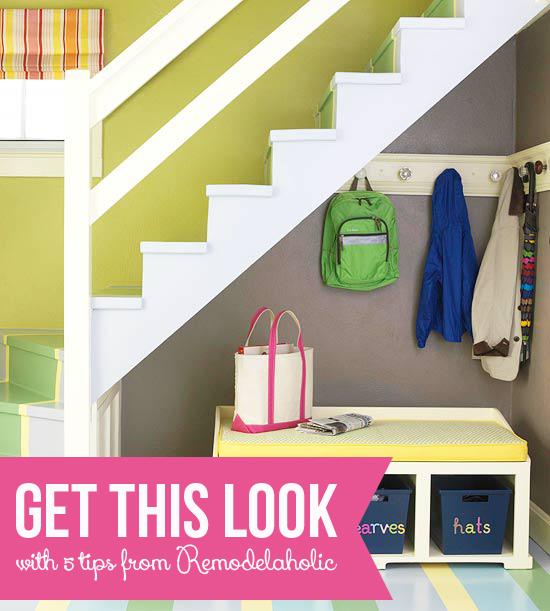 Bon Get This Look   Small Space Mudroom Under The Stairs Via Remodelaholic