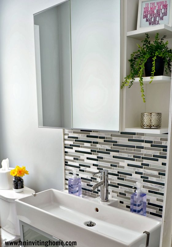 IKEA mirror with storage, An Inviting Home on Remodelaholic