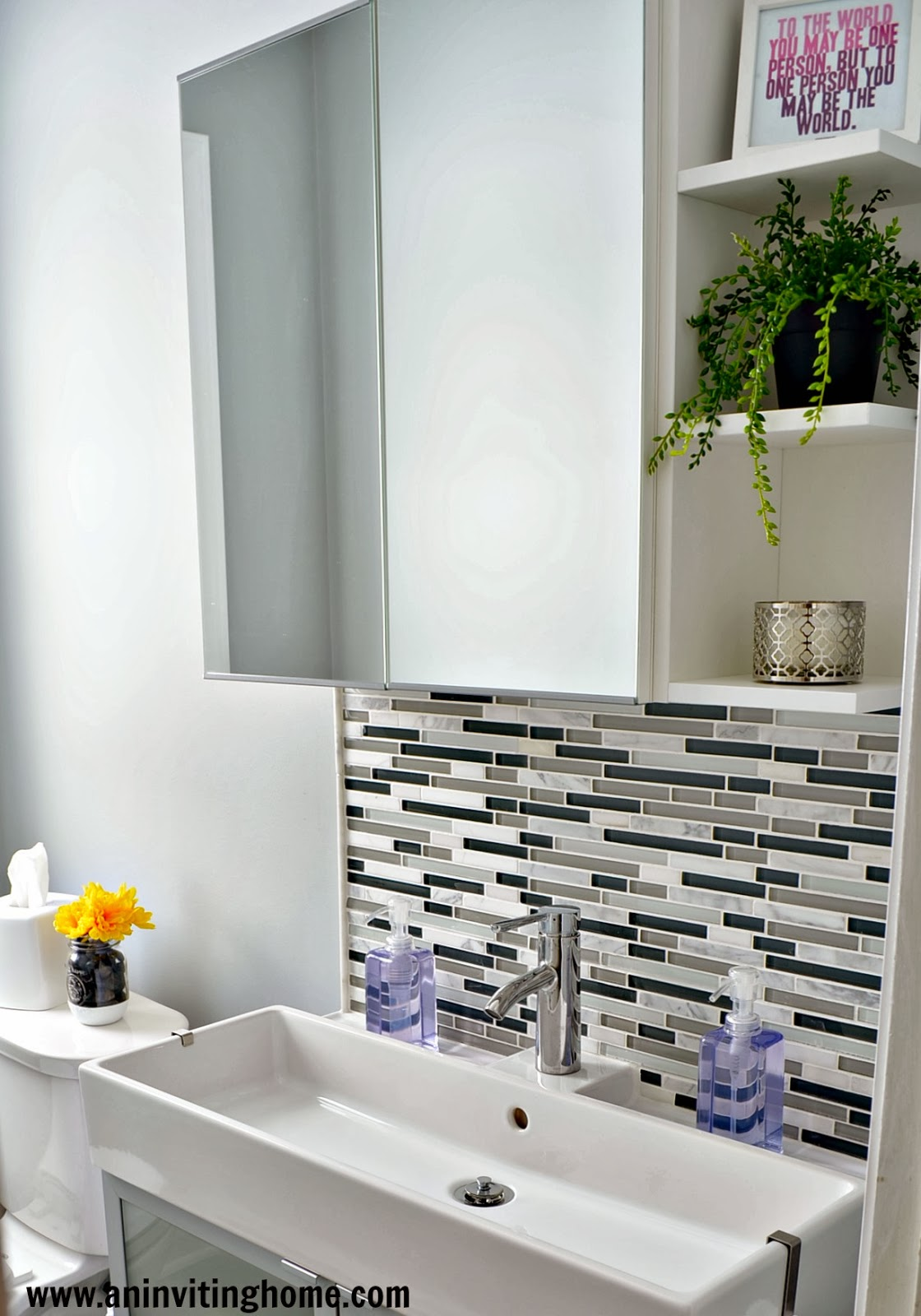 Fresh IKEA mirror with storage An Inviting Home on Remodelaholic