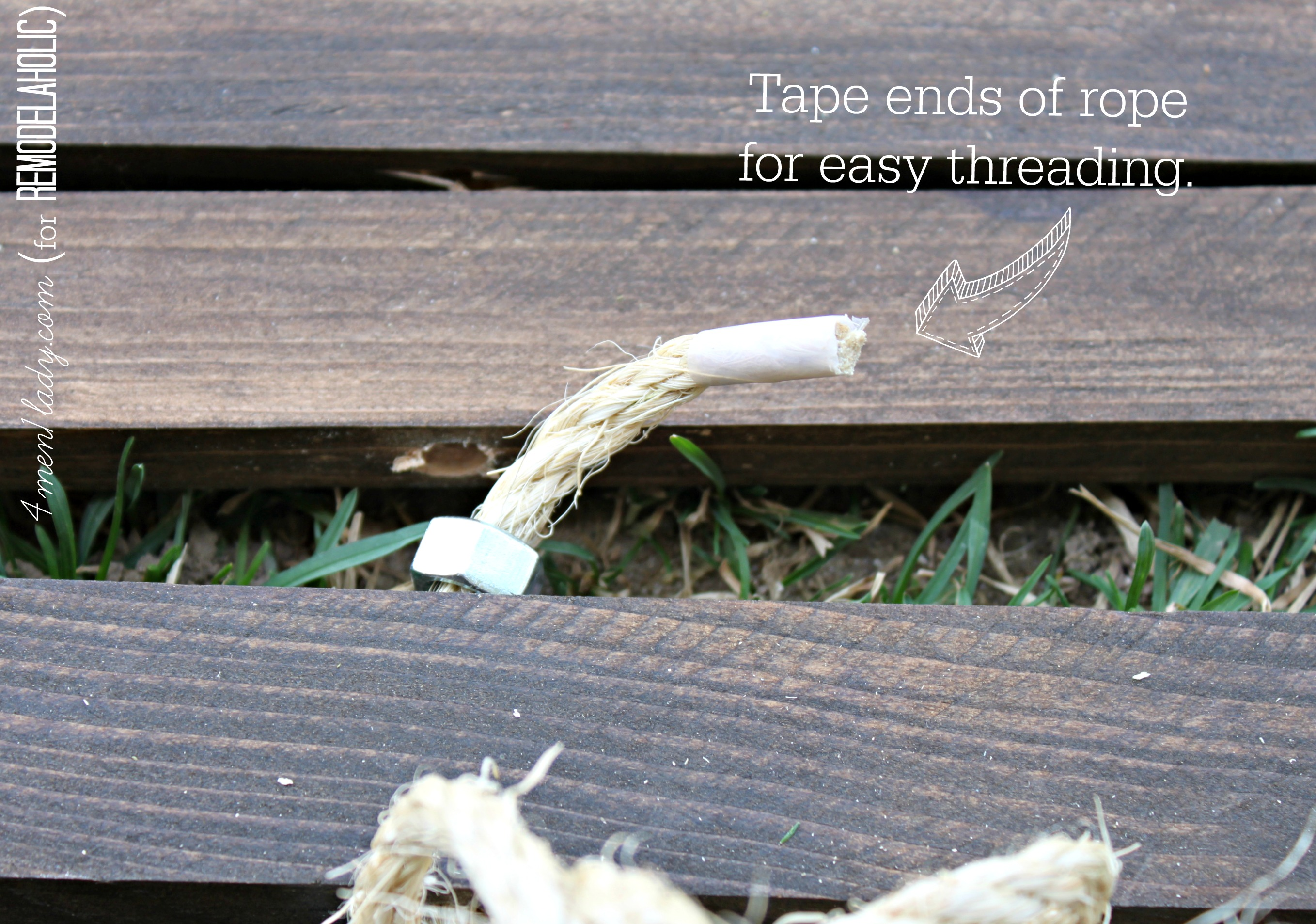 tape ends of rope to thread for wood stake doormat