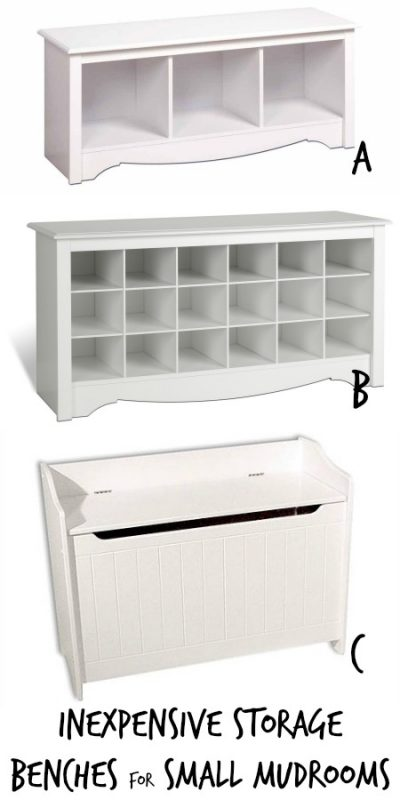 Inexpensive Storage Bench Options for Small Mudrooms via Remodelaholic