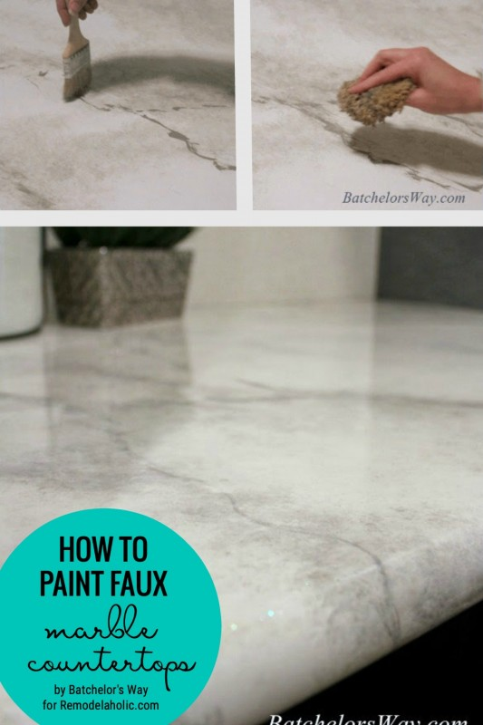 Learn How To Paint Faux Marble Countertops For Around $30 Featured On Remodelaholic.com