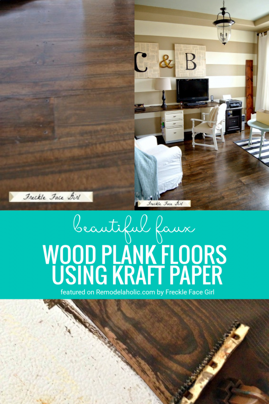 Paper Painted Faux Wood Floors DIY Project By Freckle Faced Girl For Remodelaholic.com