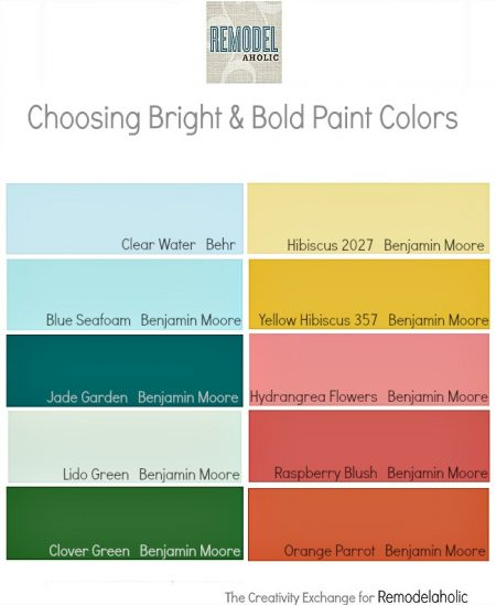 Tricks for choosing bold paint colors and subtle ways of incorporating them into your home. Remodelaholic