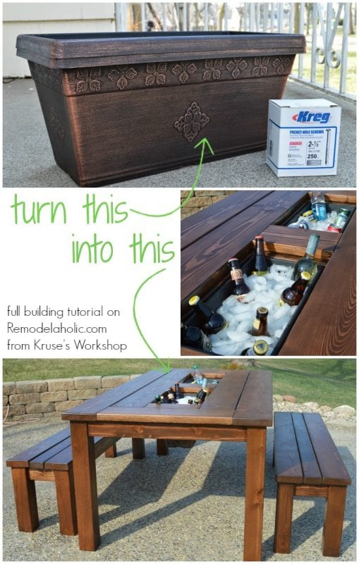 ... Turn a basic planter box into a drink cooler, built in to a patio table - Remodelaholic Build A Patio Table With Built-In Ice Boxes