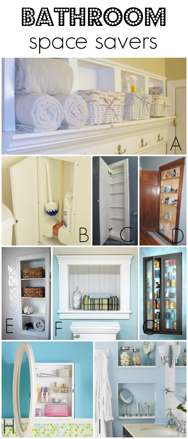 Cool Use recessed storage to save space in a small bathroom via Remodelaholic